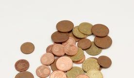 Flera euromynt royaltyfri bild