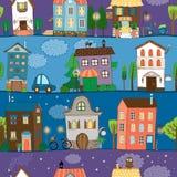 Flera färgrika och gulliga husdesigner Arkivfoto