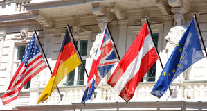 Flera flaggor i rad Royaltyfria Foton