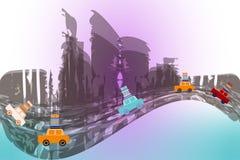 Flera flyttande bilar på en abstrakt stadsbakgrund Arkivfoton