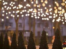 Flera julgranar som står på gatan under de lysande girlanderna arkivbild