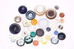 Flera knappar på en vit bakgrund Royaltyfri Foto
