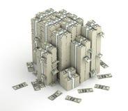 Flera kolonner av dollarpengarpackar Arkivfoto