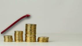Flera kolonner av mynt lager videofilmer