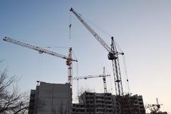 Flera kranar bygger ettvåning hus arkivfoton