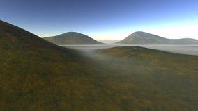 Flera liten kulle i sommaren som omges av dimma Arkivfoto