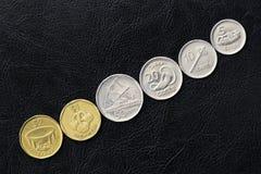 Flera mynt fr?n Fiji p? en m?rk bakgrund royaltyfria foton