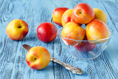 Flera nya persikor på en blå träbakgrund Arkivfoton