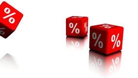 Flera röda kuber med procentsymboler lager videofilmer