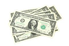 Flera räkningar i en US dollar Royaltyfri Foto