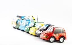 Flera små bilar för rättsskipning Royaltyfria Foton