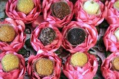 Flera smakliga Bon-Bons uppsättning i dekorativa blom- koppar Arkivbild