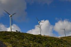 Flera vindturbiner med grå färger Fotografering för Bildbyråer