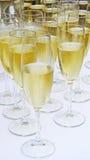 Flera vita champagneexponeringsglas Royaltyfri Bild