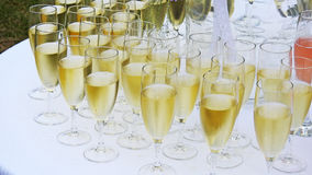 Flera vita champagneexponeringsglas Arkivfoton