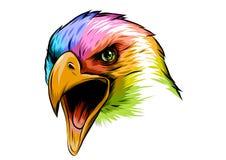Flerfärgad Eagle Head för illustration maskot i den vita bakgrunden vektor illustrationer