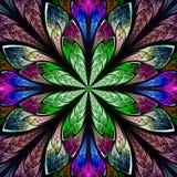 Flerfärgad härlig fractal i stil för målat glassfönster rums- Arkivfoton