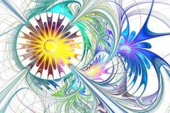 Flerfärgad härlig fractalblomma i blått, lilor och brunt royaltyfri illustrationer