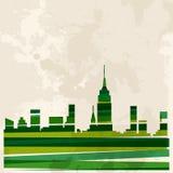 Flerfärgad horisontstad för tappning Arkivfoto