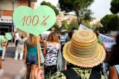 Flerfärgad kvinna för hatt hundra procent Fotografering för Bildbyråer