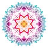 Flerfärgad mandala med blomma- och växtmotiv royaltyfri illustrationer