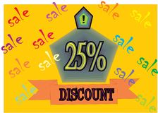 FLERFÄRGAD MEST BRA SALE SALE GULING 25%! ! För formrabatten för DICOUNT avbildar den toppna AFFISCHEN för modellen PENNER royaltyfri illustrationer