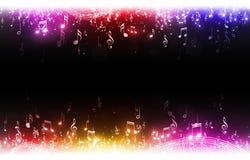 Flerfärgad musik noterar bakgrund Arkivbilder