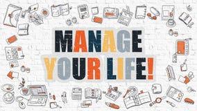 Flerfärgad rätta ditt liv på vita Brickwall vektor illustrationer