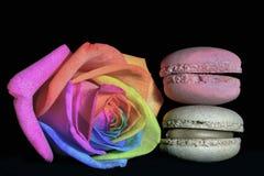 Flerfärgad rosmacaron Fotografering för Bildbyråer