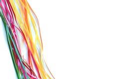 Flerfärgad satäng och siden- band för kreativitet med ett ställe för en inskrift arkivfoton