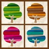 Flerfärgad träduppsättning för fyra säsong Royaltyfri Fotografi