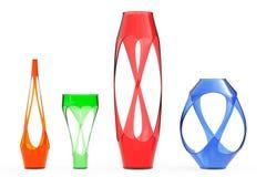 Flerfärgade abstrakta Glass vaser framförande 3d Fotografering för Bildbyråer