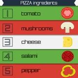 Flerfärgade band för pizzaingrediensinfographics, vektorillustration vektor illustrationer