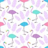 Flerfärgade flamingo för gullig tecknad film och rosa tropiska sidor som isoleras på vit bakgrund seamless vektor för modell vektor illustrationer