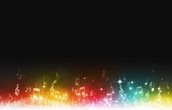 Flerfärgade musikanmärkningar Arkivbilder
