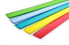 Flerfärgade plast- linjaler Royaltyfri Bild