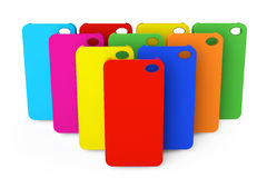 Flerfärgade plast- mobiltelefonfall Arkivbild