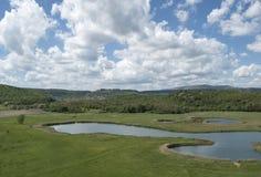 Flerfärgade sjöar Arkivbild