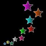 Flerfärgade stjärnor med svart bakgrund Royaltyfri Foto
