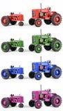 Flerfärgade Toy Tractors Arkivfoto