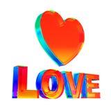 Flerfärgat förälskelseord och hjärta Shape på vit bakgrund Arkivbild