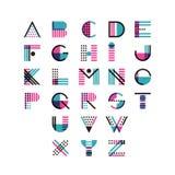 Flerfärgat geometriskt alfabet för vektor Latinska dekorativa stilsortssymboler och beståndsdelar för logo planlägger royaltyfri illustrationer