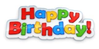 Flerfärgat ord för lycklig födelsedag som isoleras på vit Royaltyfria Foton