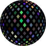 Flerfärgat skimra kristaller på den svarta bollen 3d Mosaikabstrakt begreppmodell Isolerad vit bakgrund vektor illustrationer