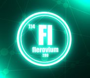 Flerovium chemical element. Sign with atomic number and atomic weight. Chemical element of periodic table. Molecule and communication background. Connected royalty free illustration