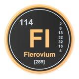 Flerovium Fl chemical element. 3D rendering. Isolated on white background royalty free illustration