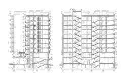 Flerv?nings- byggande avsnitt, detaljerad arkitektonisk teknisk teckning, vektorritning vektor illustrationer