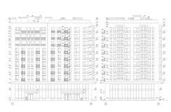 Flerv?nings- byggande avsnitt, detaljerad arkitektonisk teknisk teckning, vektorritning royaltyfri illustrationer