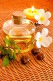 Fles aromatische essentieolie Stock Afbeelding