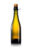 Fles bier, cider of champagne op witte achtergrond wordt geïsoleerd die royalty-vrije stock fotografie